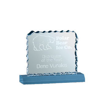 Blue Acrylic Award With Ice Simulated Edges and Polar Bear Ice Co. Engraved On Face