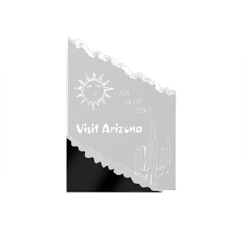 Visit Arizona Engraved On Mountain Shaped Acrylic Award With Black Base