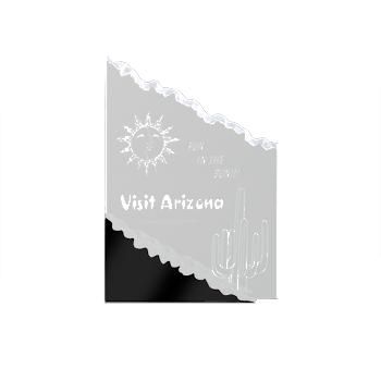 Visit Arizona Engraved On Mountain Shaped Acrylic Award With Black Base
