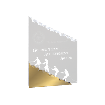 Golden Team Achievement Award Engraved On Mountain Shaped Acrylic Award With Gold Base
