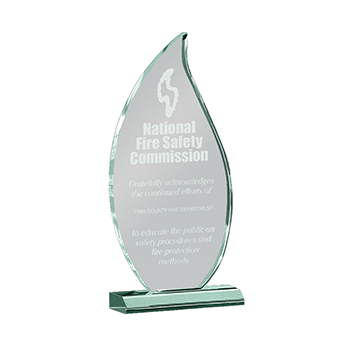 National Fire Safety Commission Engraved on A Flame Shaped Jade Acrylic Award
