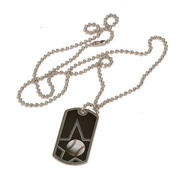 Baseball Dog tag with Chain