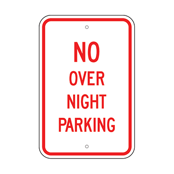 No over night Parking Red Vinyl Attached to a white aluminum street sign