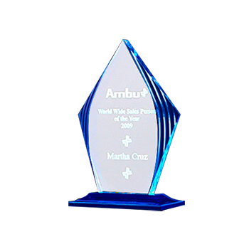 Ambu Martha Cruz Engraved on Clear Diamond Award With Base