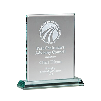 Past Chairman's Advisory Council Engraved On Rectangular Premium Jade glass Award