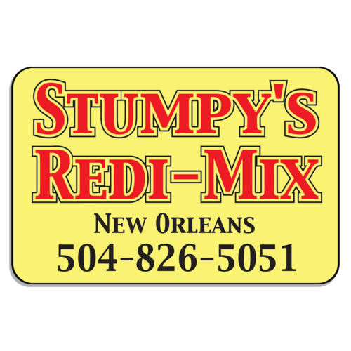 Yellow Rectangular Magnetic Sign With Stumpy's Redi-Mix Printed on It