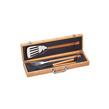 Grilling Set Contained in Bamboo Case