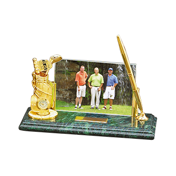 Green Marble Base With Golden Pen, Golf Bag With Clock and Name Plate