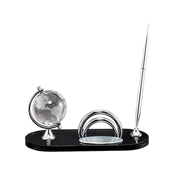 Desk Sign Set Including Pen Name Tag and Smoked Glass Globe