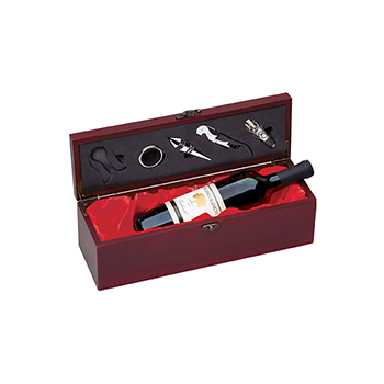 Rosewood Piano Piano Finished Box Containing A Bottle Of Wine And Wine Accessories
