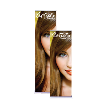 "Yellow Artista Cosmetics 24"" Retractable Banner"