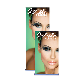 "Green Arista Cosmetics 36"" Retractable Banners"