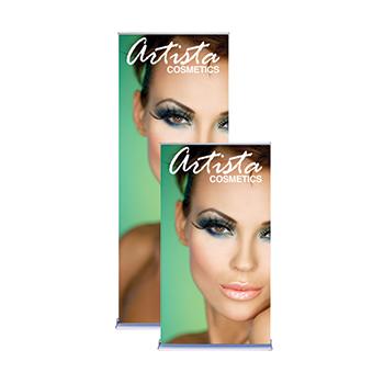 "Green Arista Cosmetics 36"" Retractable Banners"