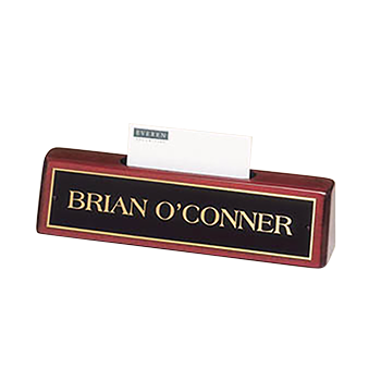 Brian O'Conner Engraved On a Rosewood Nameplate With Business Card Holder