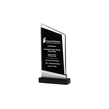 Black Zenith Glass Award With Engraving On Face