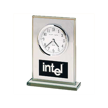 Intel Engraved On A Brushed Metal Rectangular Award With Clock