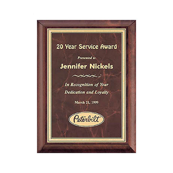 Solid cherry award plaque with ruby marble brass plate.