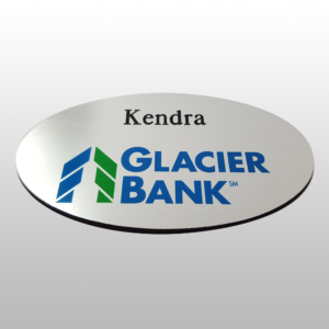 Plastic Name Tag With Glacier Bank And Kendra