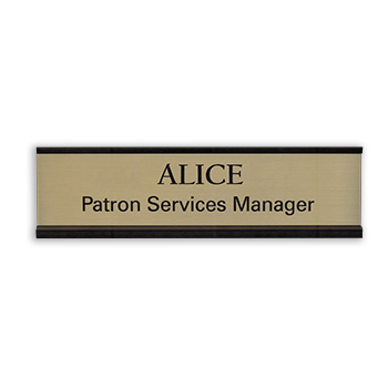 Desk name plate with a metal frame