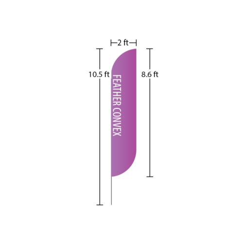 Feather Convex Flag 2 ft x 8.6 ft 10 ft overall heigth