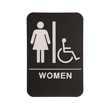 Black Ada Sign With the Word Woman and the Symbol for Women