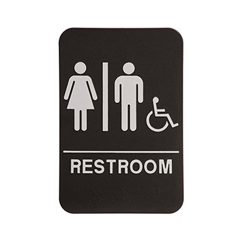 Black ADA Sign With the word Restroom and a White Woman and Man
