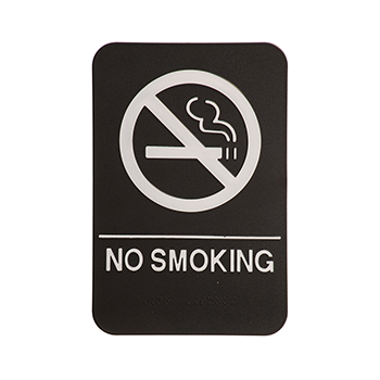 Black ADA Sign With White No Smoking Symbol and Words