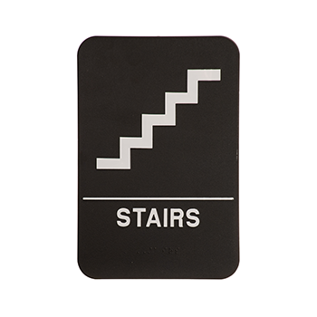 Black ADA Sign With White Stairs And The word Stairs written under