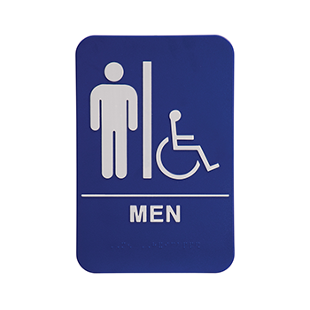 Blue Ada Sign With the Word Men and the Symbol for men