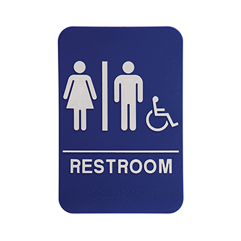 Blue ADA Sign With the word Restroom and a White Woman and Man