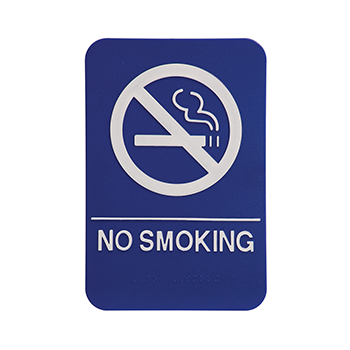 Blue ADA Sign With White No Smoking Symbol and Words
