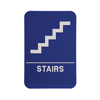 Blue ADA Sign With White Stairs And The word Stairs written under