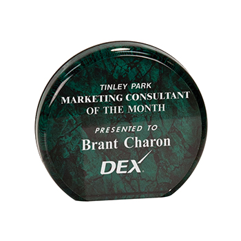 Tinley Park Marketing Consultant of the MonthPresented to Brant Charon Dex Green Aurora Acrylic Award