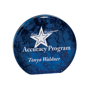 Accuracy Program Tonya Waldner Engraved on a Blue Aurora Acrylic Award