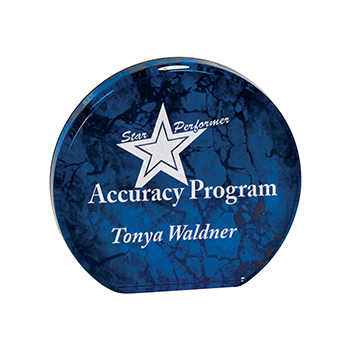 Star Performer Accuracy Program Tonya Waldner engraved on a Blue Aurora Acrylic Award