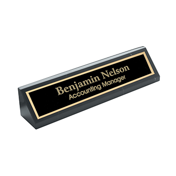 Black Marble Desk Wedge with Benjamin Nelson Accounting Manager Engraved on A Black plate