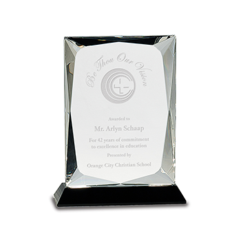 Be Though Our Vision Mr. Arlyn Schaap Engraved on a Rectangular Black Crystal Premier Award