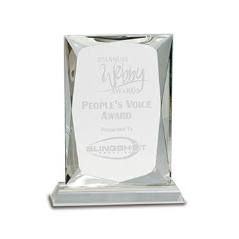 5th Annual Webby Awards People's Voice Award Presented to Slingshot Engraved On Rectangular Premier Crystal Award