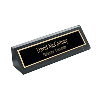 Black Marble Desk Wedge with David McCartney Guidance Counselor Engraved on A Black plate