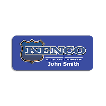 Kenco Security and Technology John Smith Printed on A Metal Name Tag