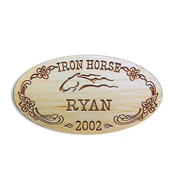 Iron Horse Ryan 2002 Wooden Oval Name Tag