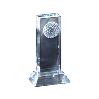 Crystal Obelisk with Crystal Golf Ball On Top