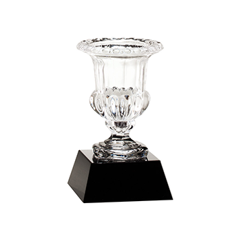 A clear Crystal Vase atop a Black Crystal base.