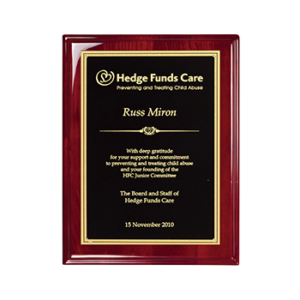 Hedge Funds Care Russ Miron Engraved On Rosewood Piano Finish Plaque