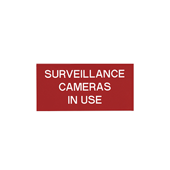 Surveillance Cameras In use Red Engraved SIgns