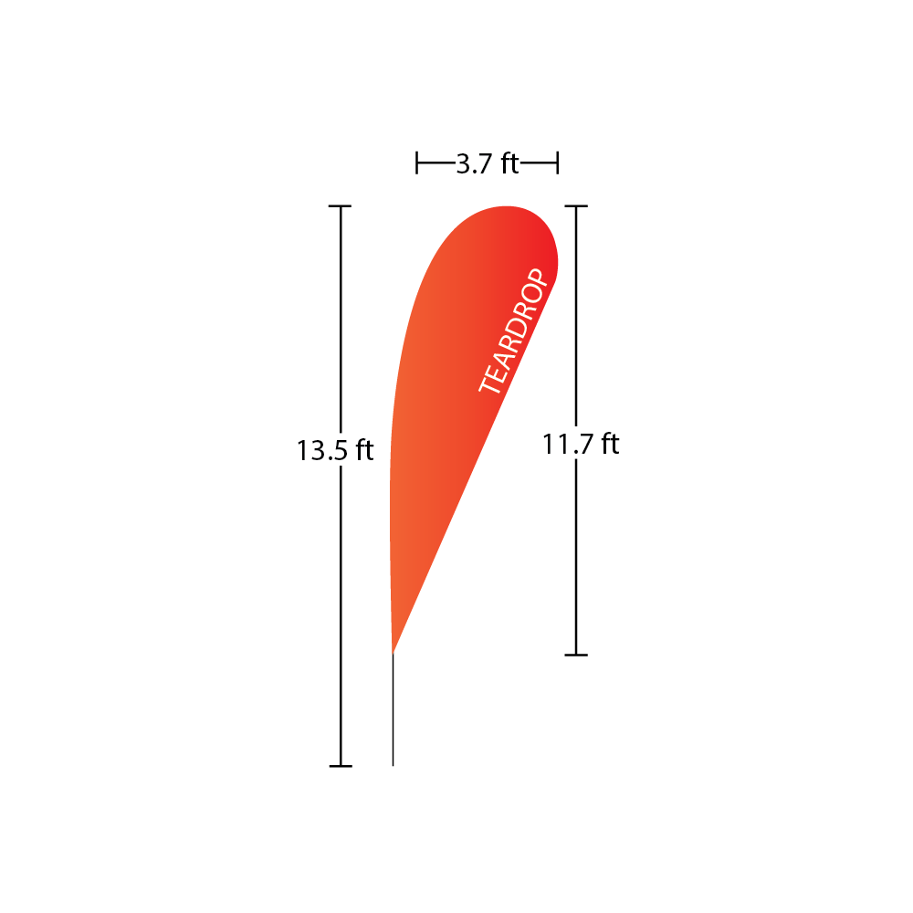 Teardrop Flag 3.7 ft x 11.7 ft 13.5 ft overall heigth