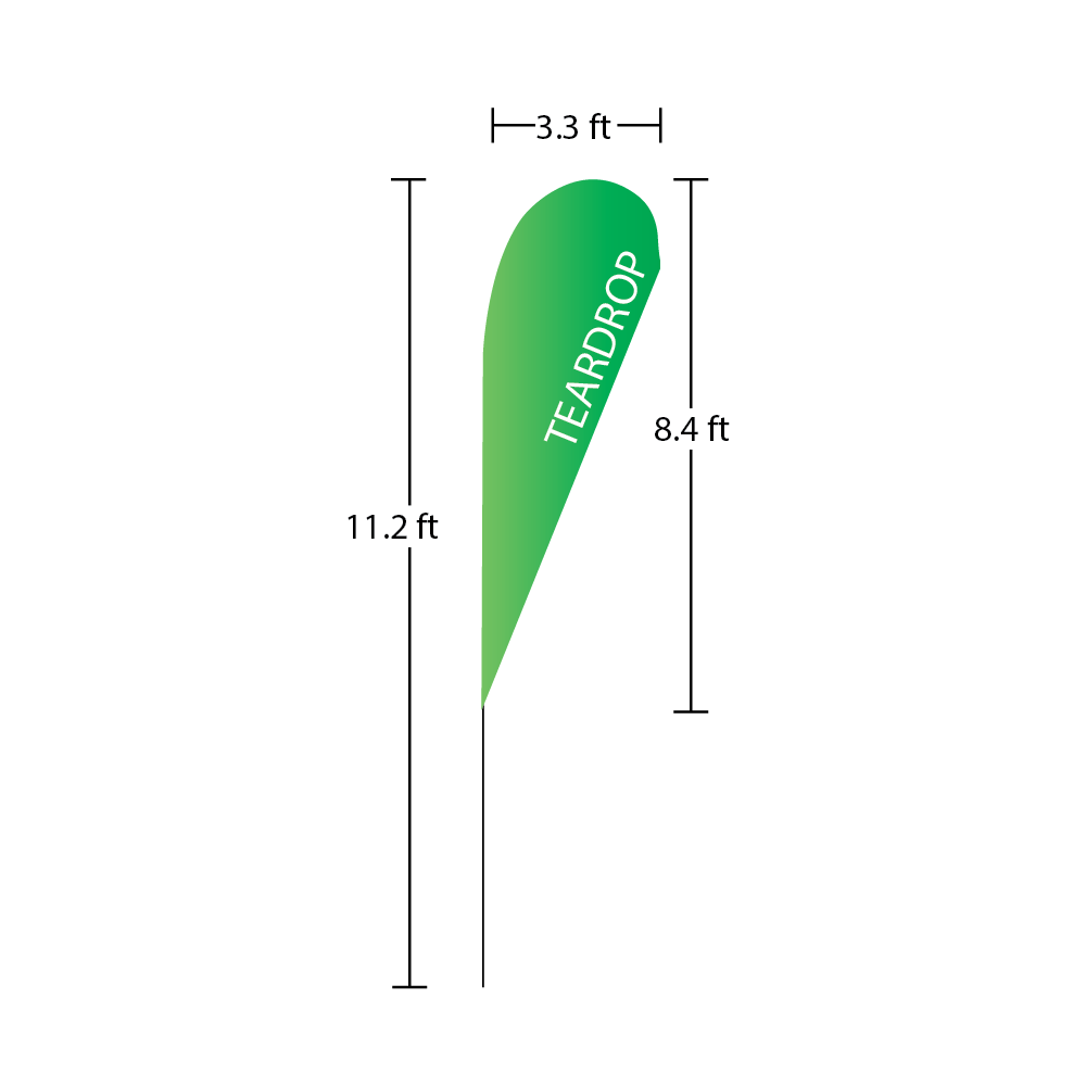 Teardrop Flag 3.3 ft x 8.4 ft 111.2 ft overall heigth