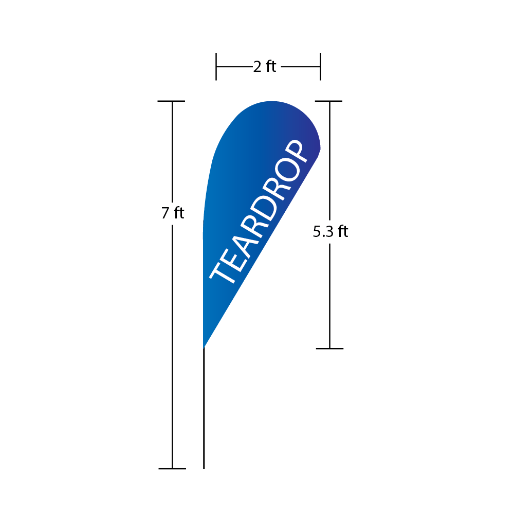 Teardrop Flag 2 ft x 5.3 ft 7 ft overall heigth