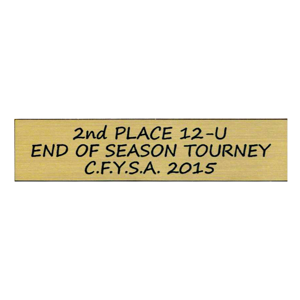 2nd Place 12-U End Of Season Tourney C.F.Y.S.A. 2015 Engraved in Black on a Gold Trophy Plate