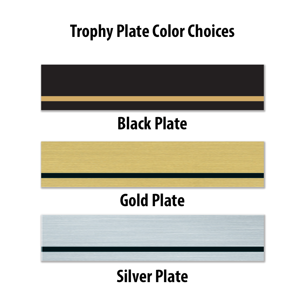 Trophy Plate Color Choices Black Plate with Gold Trim, Gold Plate with Black Trim and A silver Plate with Black Trim